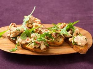 Chickpea & Salmon Crostini with Arugula Salad