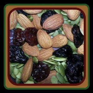 Almonds, pumpkin seeds, dried cherries snack