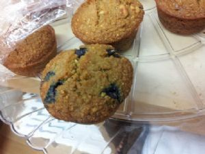 Oatmeal Blueberry Bran Muffins made with no oil/butter/dairy