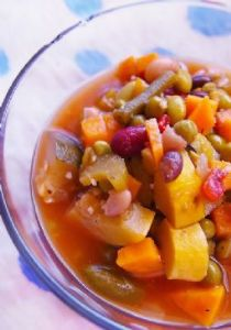 Minestrone Soup With Sweet Potato, Black Bean & Edamame