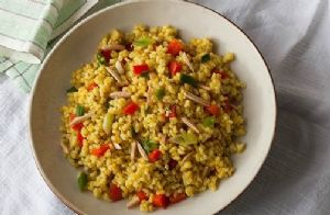 Brown Rice Pilaf with Toasted Almonds and Red Bell Peppers
