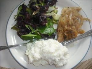 Chicken in Spicy and Sweet Onion Sauce with Goat Cheese Smashed Potatoes and a Watercress and Cucumber Salad