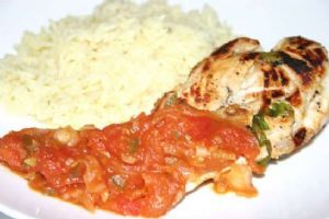 Sauteed Sweet Chicken Breasts with Spicy Tomato Chutney & White Rice
