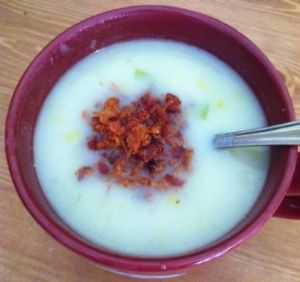Kristen's Clean Eating Dairy Free Potato and Leek Soup with Bacon