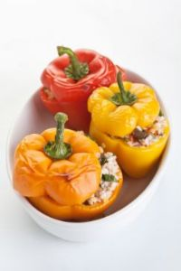 Bell Peppers Stuffed with Israeli Couscous and Lentils (crockpot)