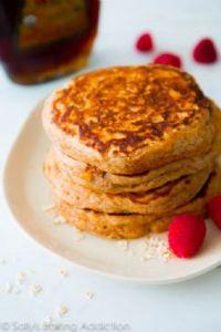 Healthy Whole Wheat Oatmeal Pancakes