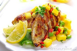 Grilled Chicken breast with mango-tomato salsa