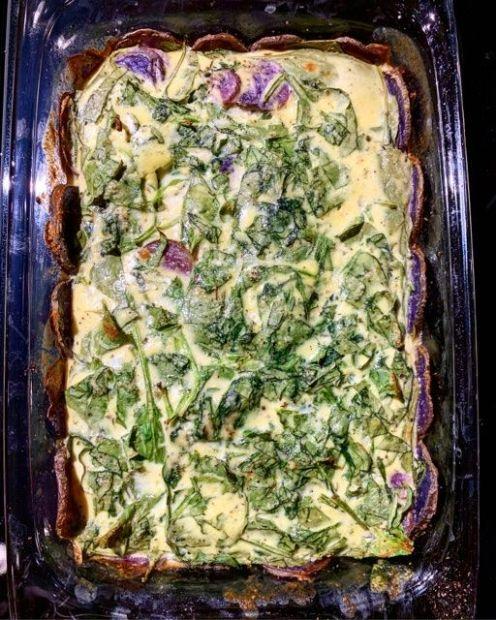 Spinach and Purple Potato Egg Parmesan Casserole