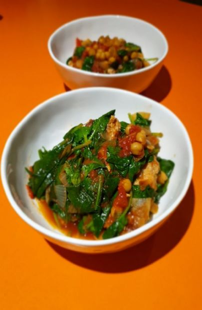 Tuscan pork and chickpeas with spinach