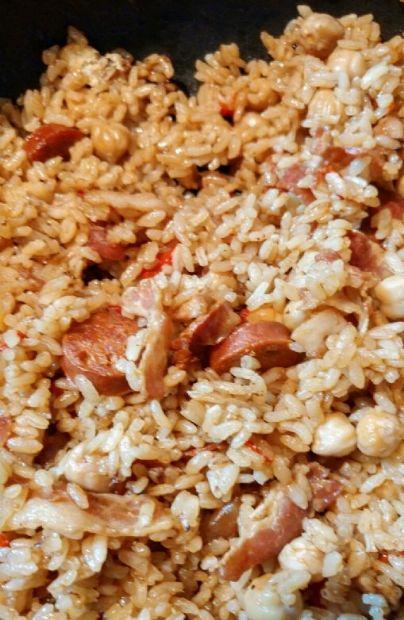 Lazy Rice, Chick Peas, Chorizo and bacon my way