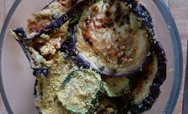 Baked zucchini and eggplant