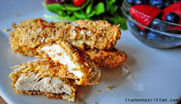 Almond coconut crusted chicken fingers/ nuggets