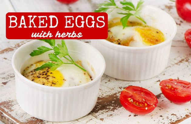 Baked Eggs (and Egg whites) with Herbs