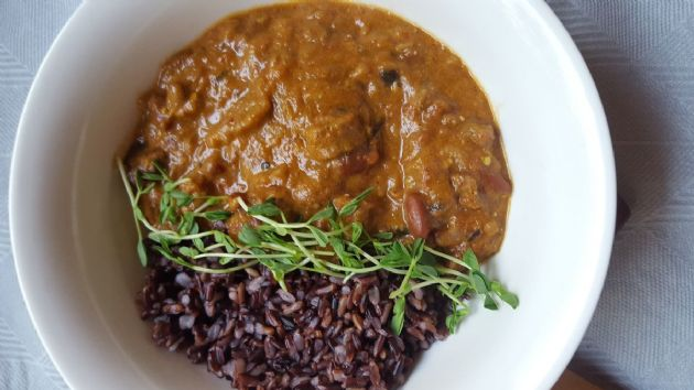 Baked Tempeh and Eggplant Masala with Kidney Beans and Wild Black Rice
