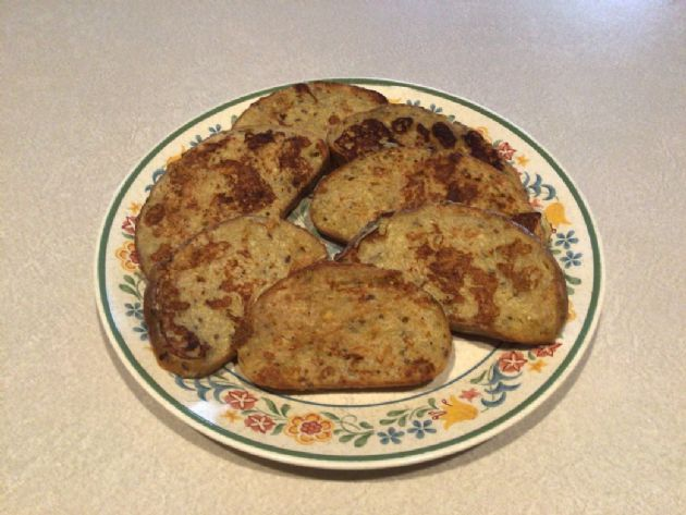 Banana French toast base (add calories per bread slice)