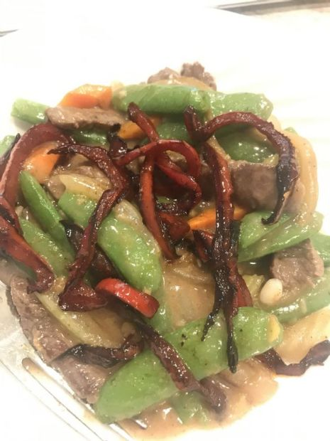 Beef Tenderloin Snow Pea Red Pepper Stirfry by Tamera
