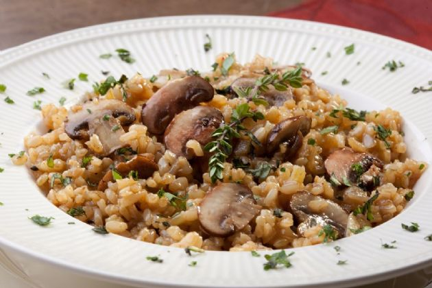 Beefy mushrooms and rice