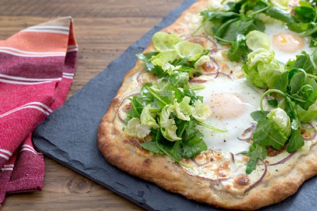 Blue Apron White Pizza with Baked Eggs and Arugula-Brussels Sprout Salad