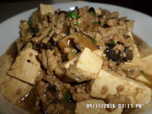 Braised Firm Tofu with Mushrooms