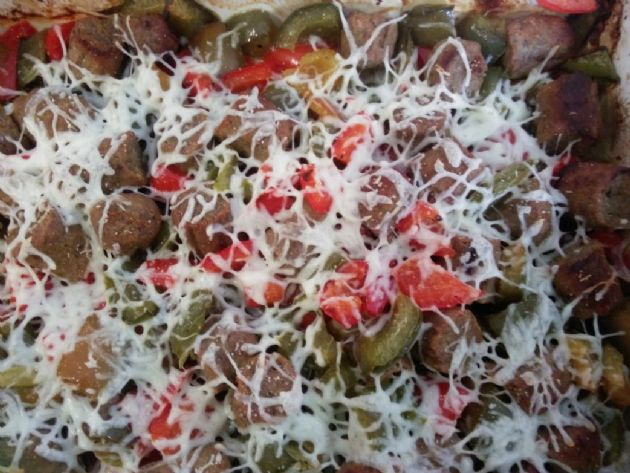Breakfast Turkey sausage with bell peppers