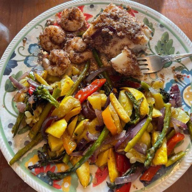 Cajun Pecan Crusted Cod-Shrimp Veggie Sheet Pan
