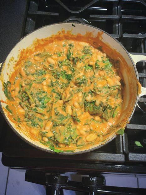 Cashew Spinach Cannellini Bean Stew