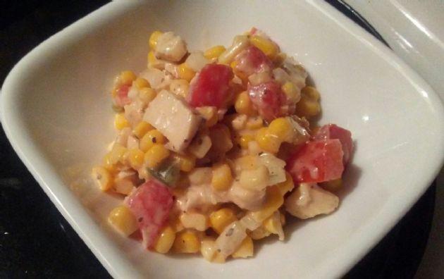 Creamy corn chicken salad