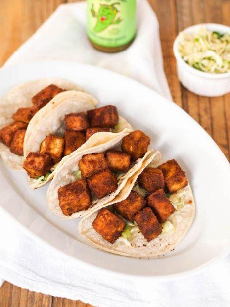 Crispy Baked Tofu Tacos with Cilantro Lime Slaw