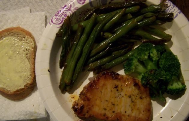 Diabetic Or Healthy Eating Pork Chops And Vegetables With Deli Rye Bread