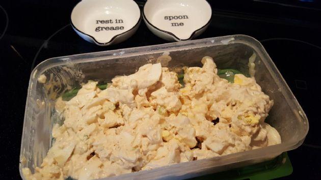Egg Salad with Cream Cheese (Keto 1 serv = 1/5 of recipe)