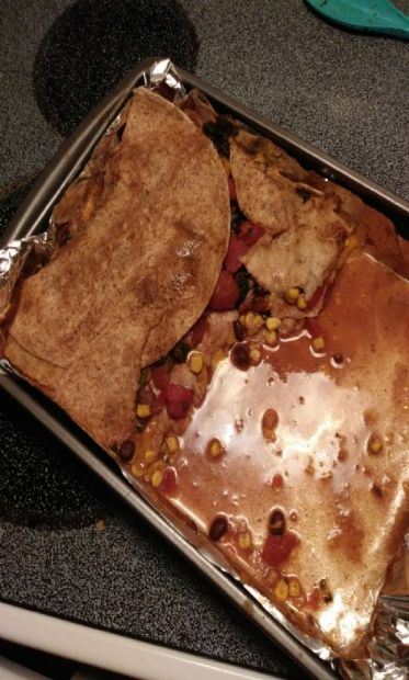 Enchilada casserole with homemade enchilada sauce