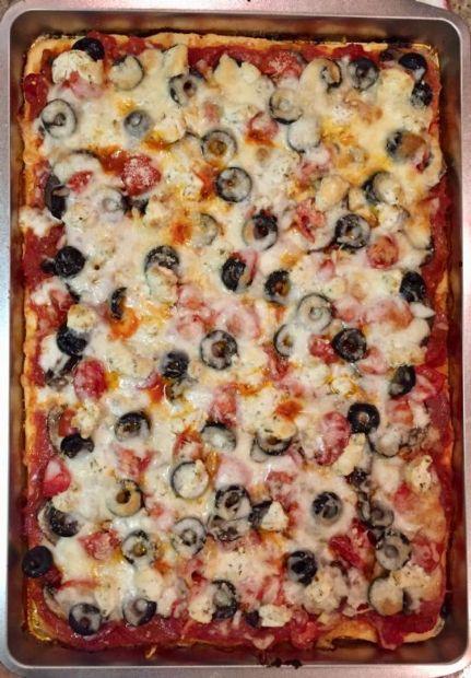 Fathead Pizza Crust w/ Coconut Flour (Veggie Pizza)