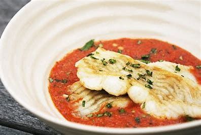Flounder with Roasted Red Pepper Sauce