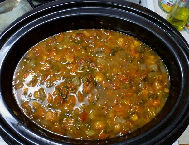 French Lentil, Yam and Vegetable Soup in Crockpot/Slow Cooker
