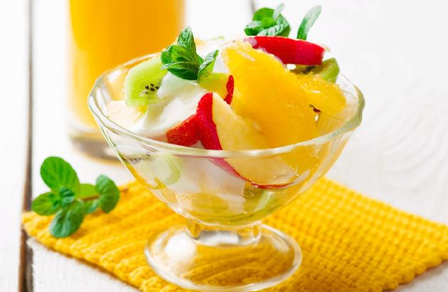 Fresh Fruit Salad with Honey-Yogurt Dressing Recipe ...