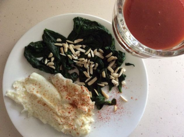 Fresh Garden Spinach and Scrambled Egg Whites (breakfast 3)