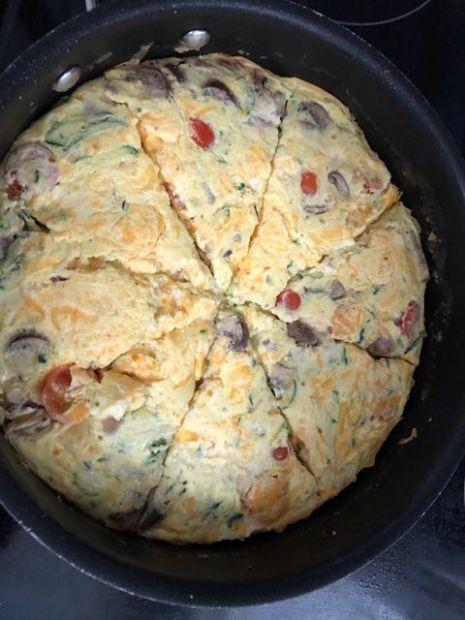 Frittata with ham and veggies