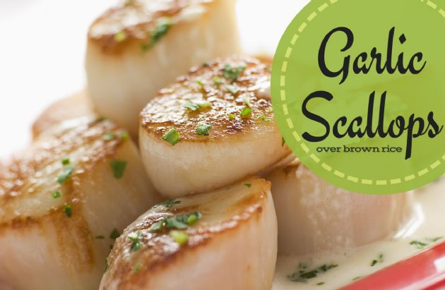 Garlic Scallops over brown rice