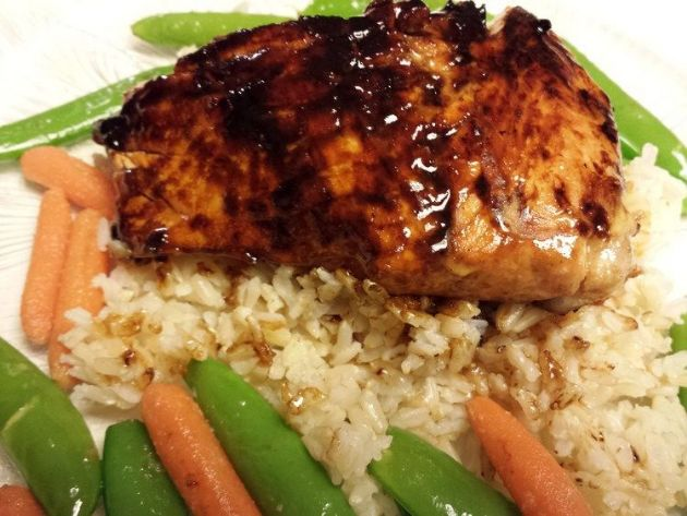 Glazed Salmon and Rice