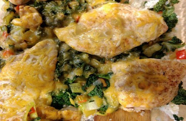 Green Chili Chicken and Cauliflower Rice Casserole