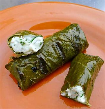 Grilled Grape Leaves Stuffed with Herbed Cheese