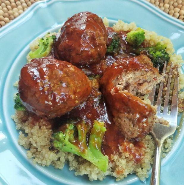 Honey Garlic Meatballs over Broccoli and Quinoa