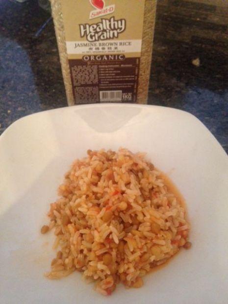 Jasmine Rice in a Lentil Tomato Sauce