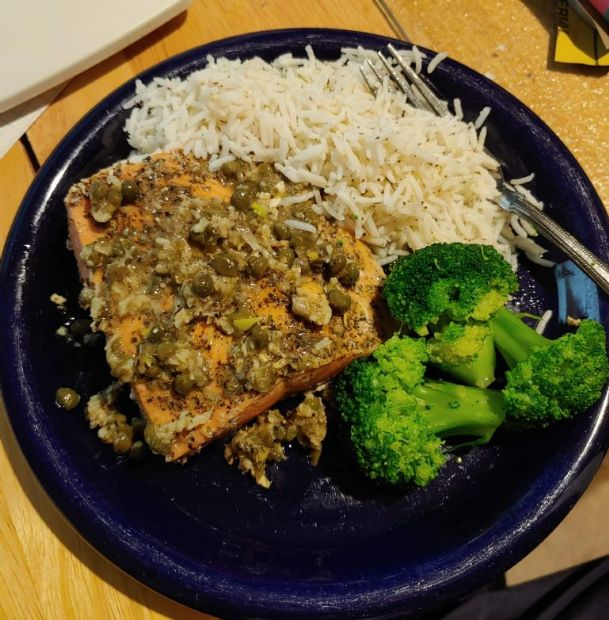 Julia's Trout (or Salmon) with Garlic Butter Lemon Caper Sauce