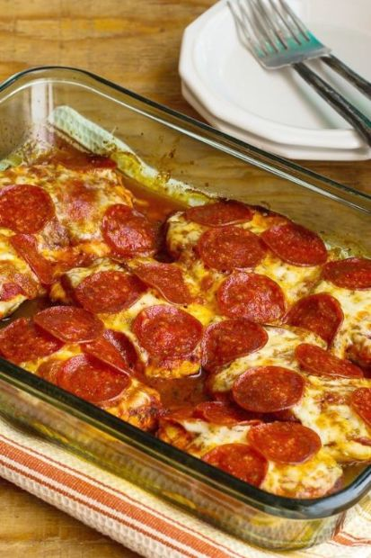 Low-Carb Pepperoni Pizza Chicken Bake