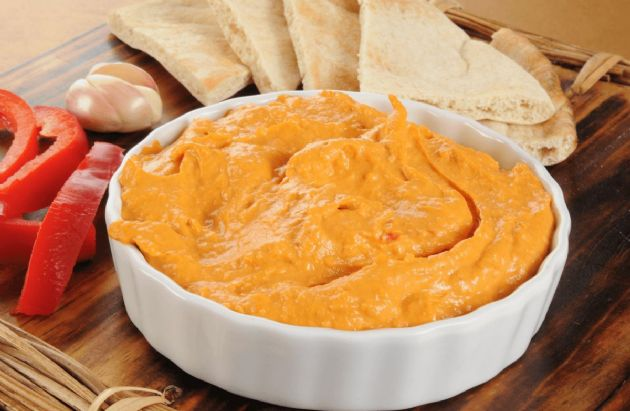 Low fat roasted red pepper hummus recipe sparkrecipes low fat roasted red pepper hummus sisterspd