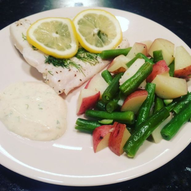 Martini Halibut with creamy dill sauce