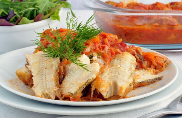 Mediterranean Baked Fish Recipe | SparkRecipes