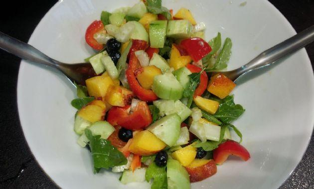 Nectarine and Blueberry Summer Garden Salad