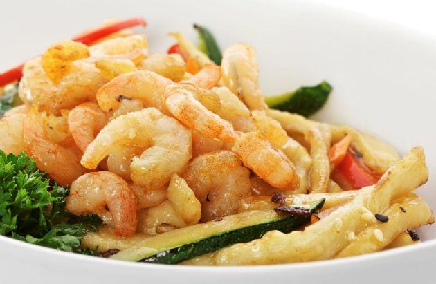 Pasta with Shrimp, Zucchini and Mushrooms